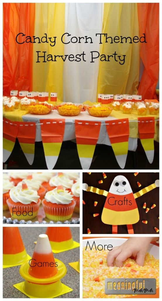 Candy Corn Harvest Party - Ideas for food, crafts, games, decorations and more.