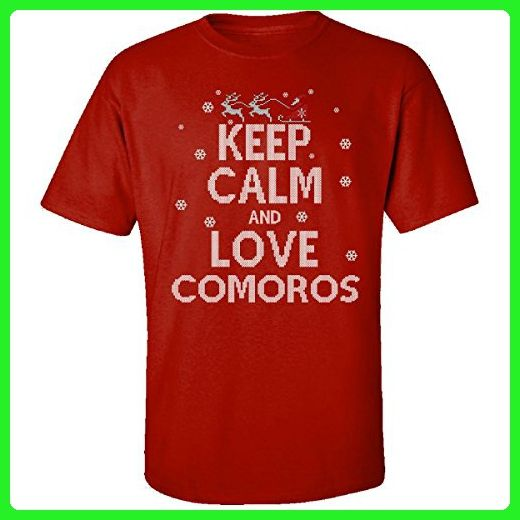 Keep Calm And Love Comoros Country Ugly Christmas Sweater - Adult Shirt L Red - Cities countries flags shirts (*Amazon Partner-Link)