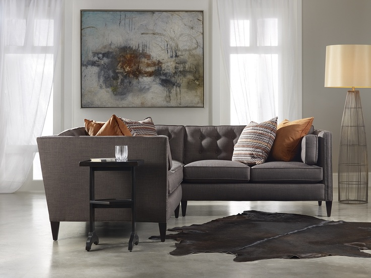 Grey Sam Moore Eaton Contemporary Two Over Two Sofa with Nailhead Trim at Belfort Furniture : sam moore sectionals - Sectionals, Sofas & Couches