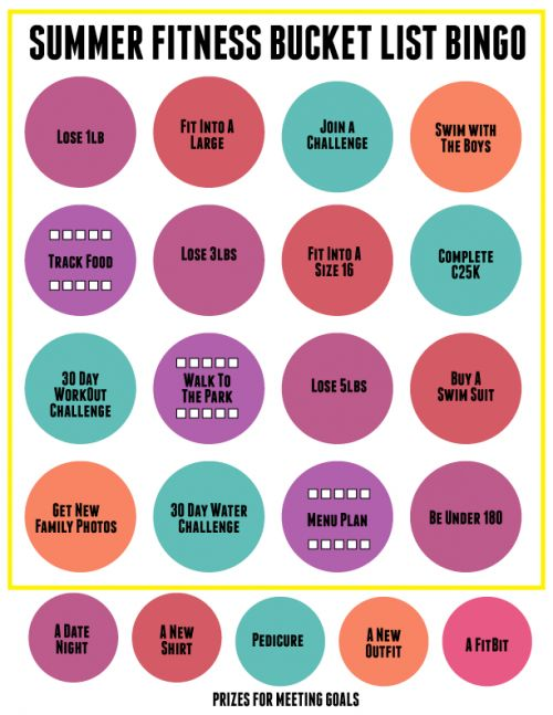 Summer Fitness Bucket List Bingo with FREE blank card for you to print out!!