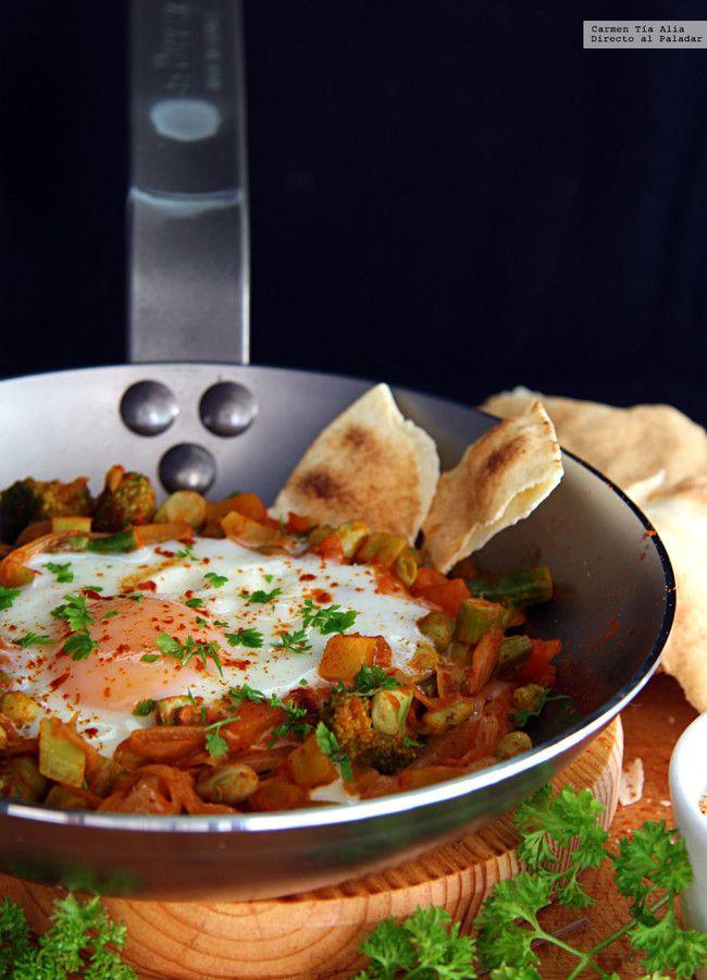 Sartén de verduras y huevo. Receta