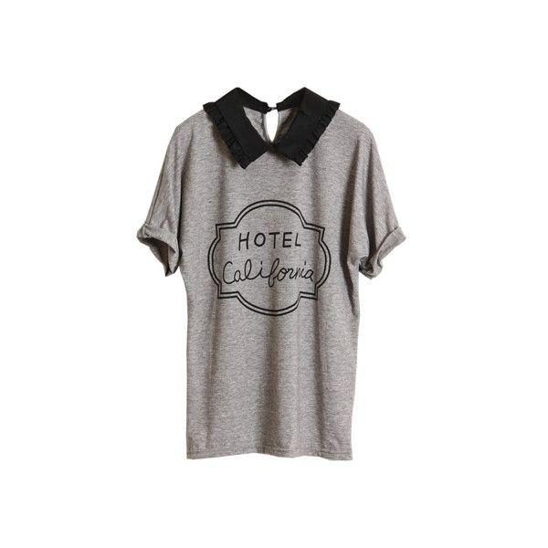 Retro Collar Batwing Sleeves Grey T-shirt (450 ARS) ❤ liked on Polyvore featuring tops, t-shirts, shirts, tees, collared shirt, loose shirts, retro shirts, patterned shirts and pattern t shirt