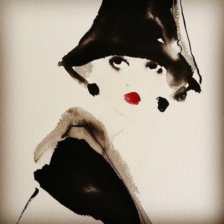 Tall black hat. Bridget Davies Art