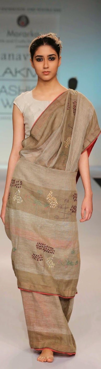 Handwoven linen saree by Anavila Misra at Lakme Fashion Week 2014