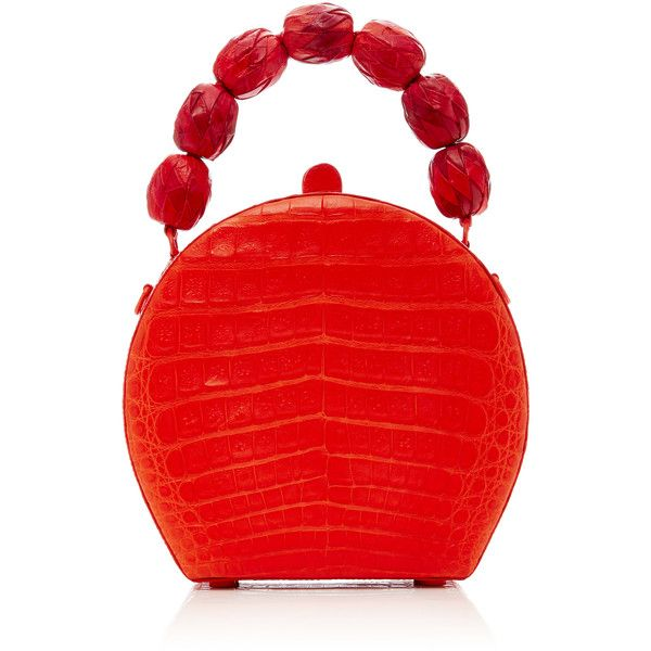 Nancy Gonzalez BILLIE BAG found on Polyvore featuring bags, handbags, purses, red, red crocodile purse, red croc handbag, red purse, top handle handbags and croc embossed handbags