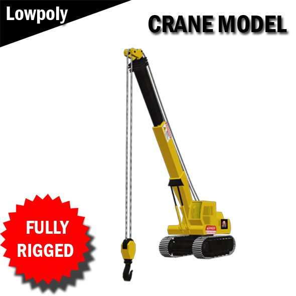 Crane Model Fully RIgged VR / AR / low-poly 3d model  Fully