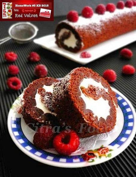 Not so natural Red velvet roll cake.