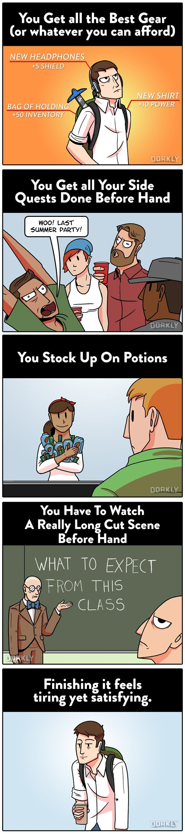 Dorkly Comic: Why Preparing for School is Like Preparing for a Boss Battle