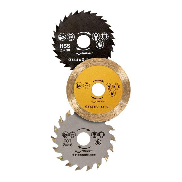 Tres discos diferentes de corte para cortar todo tipo de materiales: madera, metal, azulejos, gres, moqueta...