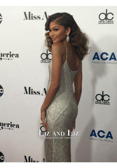 5c56e64a Zendaya Silver Sequin Evening Prom Celebrity Dress 2016 Miss America ...