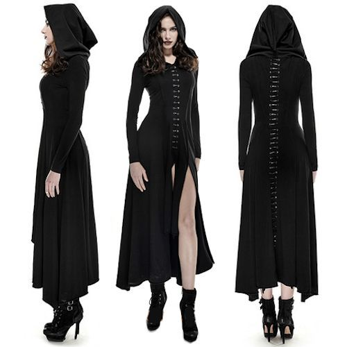 Black Long Sleeve Hooded Maxi Long Gothic Vampire Fashion Dress Women SKU-11402823