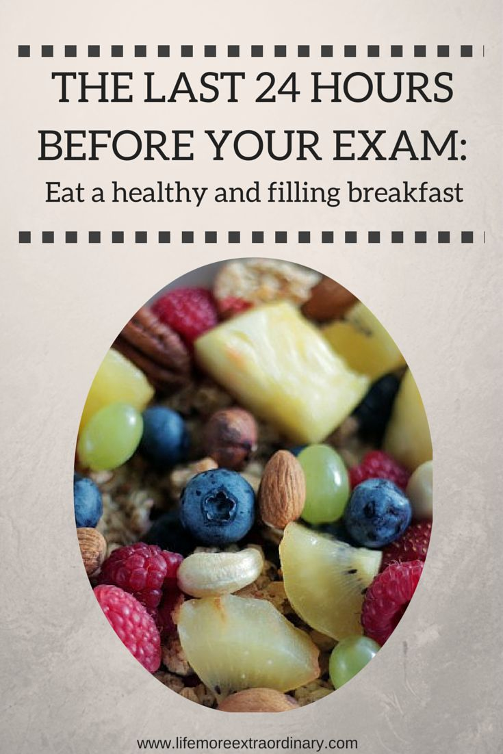 What should you do in the last 24 hours before an exam? For one thing, you should eat a healthy breakfast. It will keep you full up until lunch time and give your body and brain the nutrients it needs to ace that exam. For more tips on how to get through those last 24 hours before an exam click here: http://www.lifemoreextraordinary.com/revision/how-to-spend-the-last-24-hours-before-an-exam/ #exams #study #revision