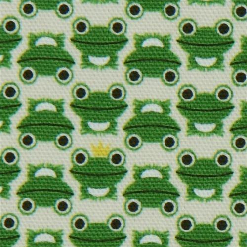 white frogs Kokka oxford cloth fabric kawaii from Japan