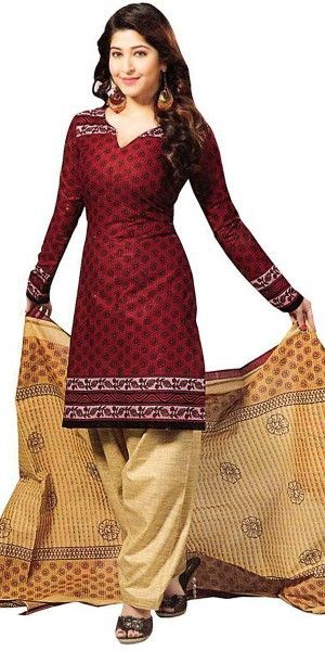 Loving Maroon Cotton Salwar Suit With Dupatta.
