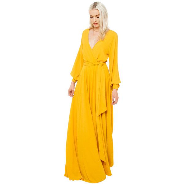 AKIRA Black Label Gone With The Wind Maxi Dress - Mustard ($90) ❤ liked on Polyvore featuring dresses, maxi dress, floor length maxi skirt, plunging neckline maxi dress, mustard maxi skirt and long maxi skirts