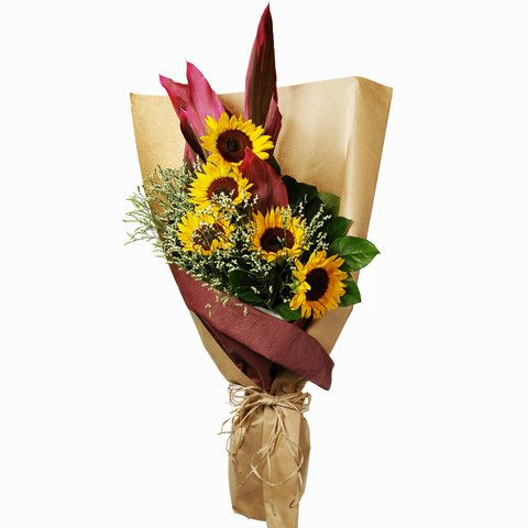 Sunflowers Flower Bouquet with Matching Flowers and Greens| HongKongFlowerShop.com Since 1998 - Hong Kong Flower Shop Limited (HongKongFlowerShop.com)