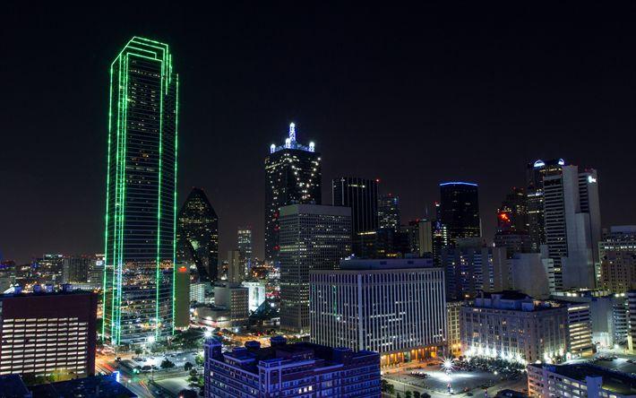 壁紙をダウンロードする ダラス, 高層ビル群, 夜, 街の灯, 米国, 町並み