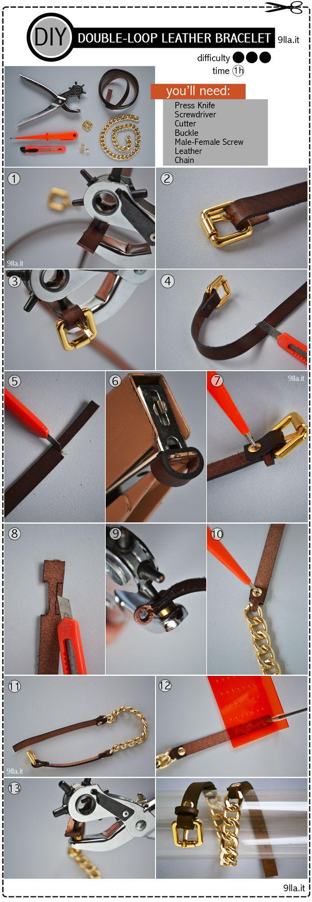 doble pulsera de cuero y cadena