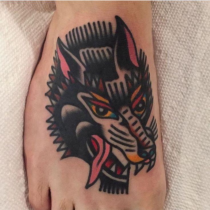 Wolf Tattoo #tattoo by @mark__cross #tattoos #tattooart #tradition #traditional #colortattoo