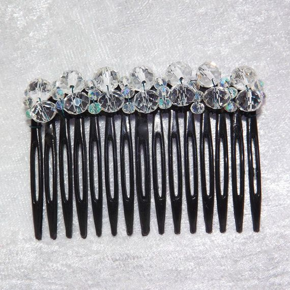 Ice White Beaded Black Hair Comb Large   Free UK by KasumiCrafts