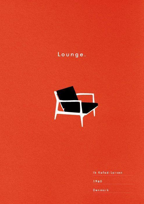 Mid Century Chair Poster Lounge art print danish modern illustration typography…