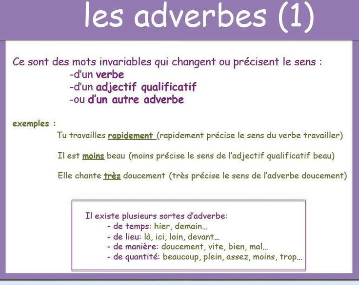adverbes: