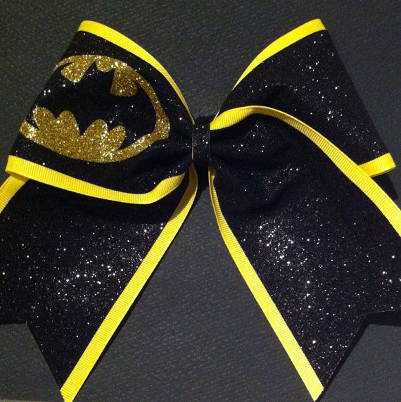 For Big Sis...3in. Glitter Batman Superhero Cheer Bow by BowsByTeri on Etsy, $12.00