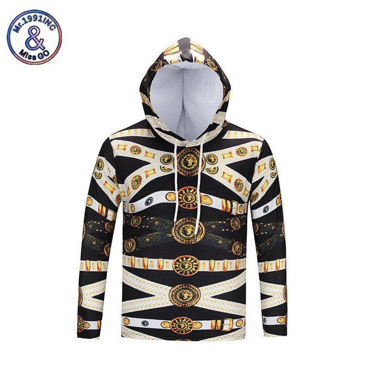 1991inc Fashion Gold Chain Hoodie Men&Women Hoodies Couples 3D Lion Print Hooded Sweatshirts Casual Punk Hoody Tracksuits Tops