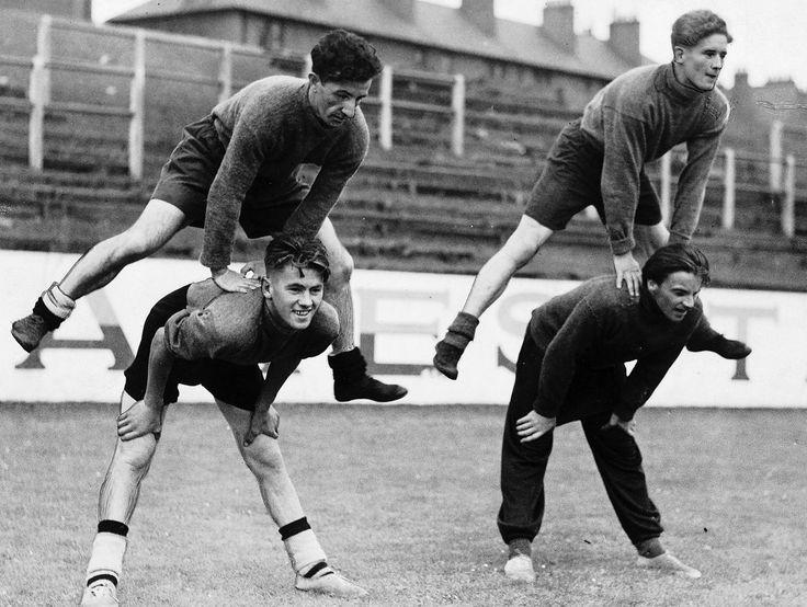 Emilio Pacione (left) leapfrogs a team mate as Dundee United train pre-season. (Photo: Daily Record)