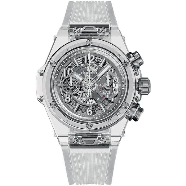 Hublot Big Bang UNICO 45mm 411.jx.4802.rt Sapphire Crystal Watch (63,360 CAD) ❤ liked on Polyvore featuring men's fashion, men's jewelry, men's watches, sapphire crystal, hublot mens watches and mens diamond bezel watches