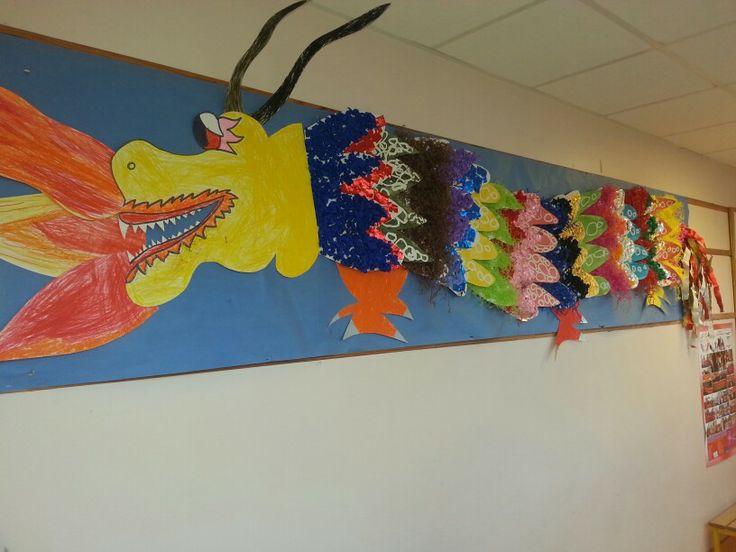 Dragon chinois fait avec des enfants de moyenne section maternelle.