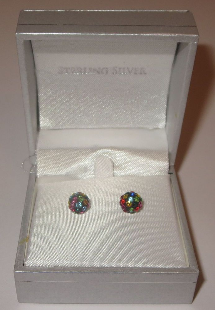 Rhinestone Fireball Earrings Black Disco Pierced Sterling Silver New in Box 7mm  #Paley #Stick