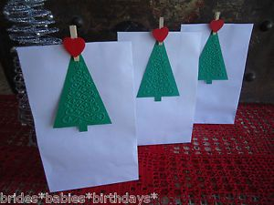 10-White-Kraft-Lolly-Bags-Christmas-Party-Lolly-Buffet-Loot-Bags-Tags-Pegs-V9