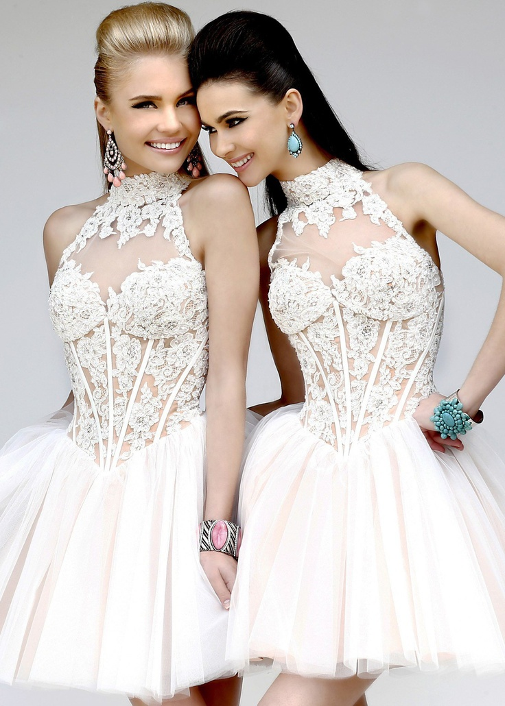 Sherri hill 21193 beautiful lace short tulle dress with a for Sherri hill short wedding dress