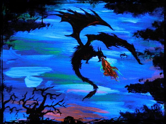 UV Dragon spitting fire painting by SmARTcraftBoutique on Etsy