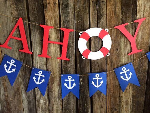 Ahoi partij Banner - nautische Decor, nautische Baby Shower, onder de zee partij, de partij van de verjaardag, foto Prop