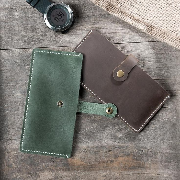 Handmade Leather Mens Clutch Wallet Cool Slim Long Phone Wallets For Men