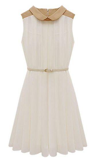Apricot Sleeveless Belt Pleated Chiffon Dress - Sheinside.com