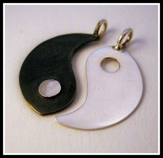 Silver Yin Yang couple pendant by Minicsiga on Etsy