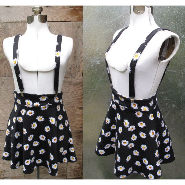 90's Black with Daisy Print Suspender Mini Skater Skirt Pinafore... ($18) ❤…