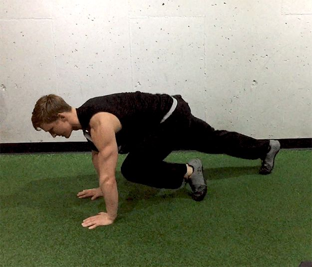 Here's how to do mountain climbers. When it says you should do 10 mountain climbers, that means 10 on each leg. | Here's a Crazy Intense Workout That Will Make You Feel Like a Beast