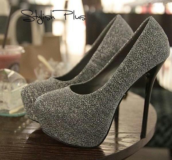 Silver sparkly stilettos