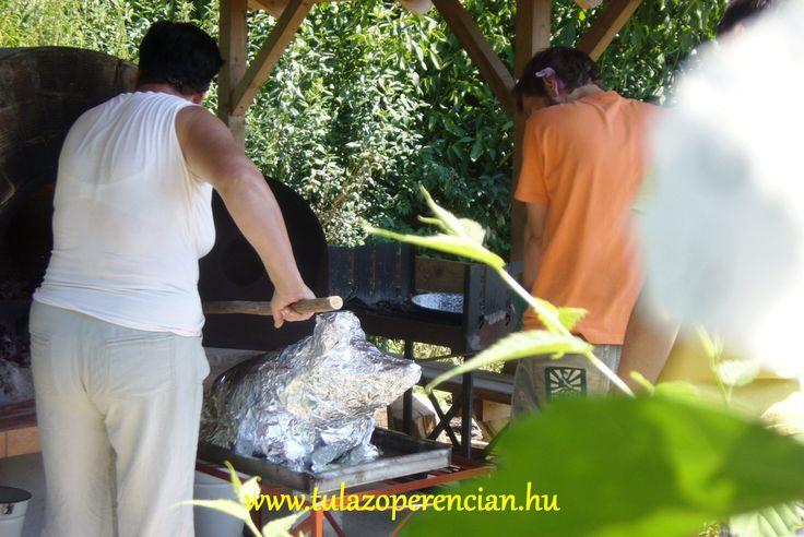 Néhány órán át fólia alatt puhítjuk, majd fólia nélkül pirítjuk a malacot. Így lesz a húsa szaftos, puha, kívül ropogós.