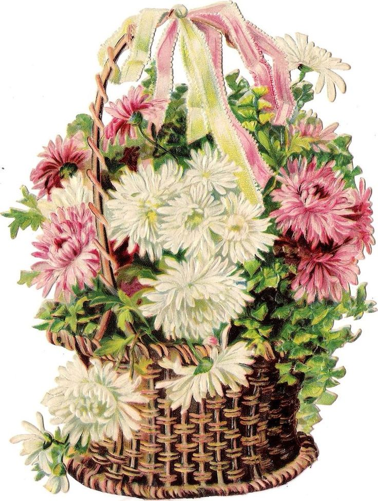 Oblaten Glanzbild scrap die cut chromo Blume flower 17cm Korb basket