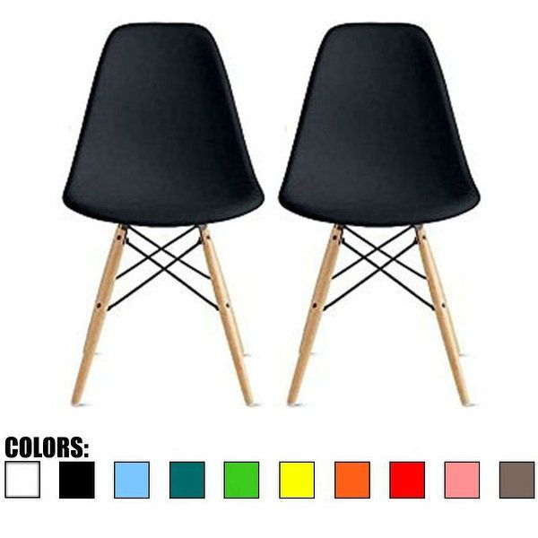 2xhome Modern Eames Side Dining Chair Colors With Natural Wood Legs Set Of 2