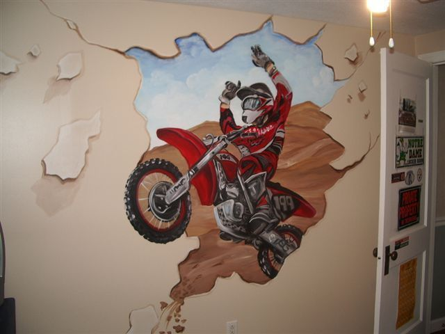 Crashing Dirt Bike Interior Mural Idea