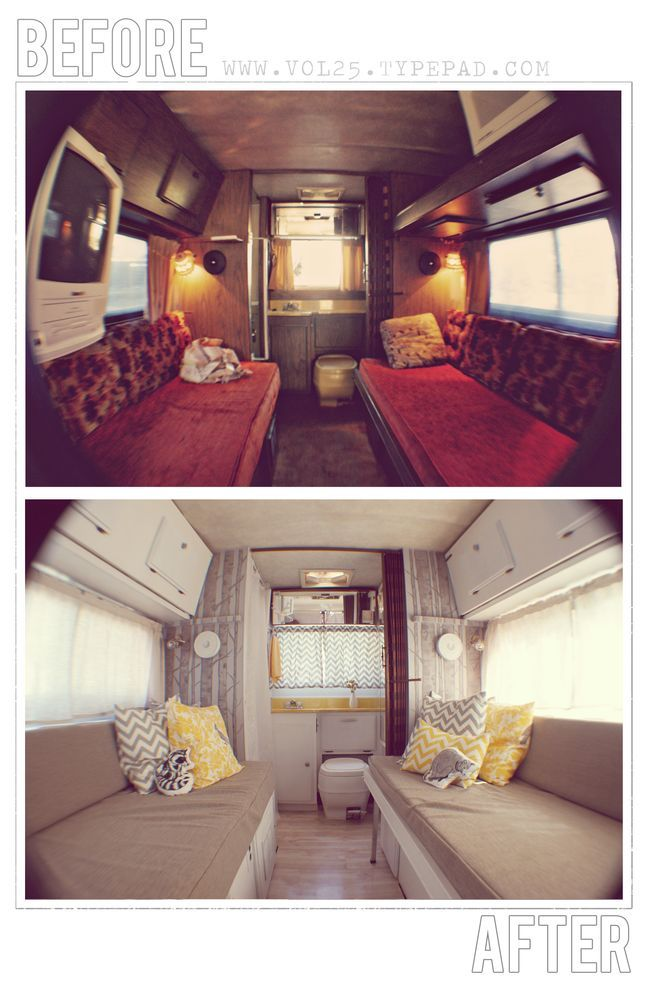 Vintage Motor Home before & afters.    @LisaMiller (not an airstreamer, but great style):