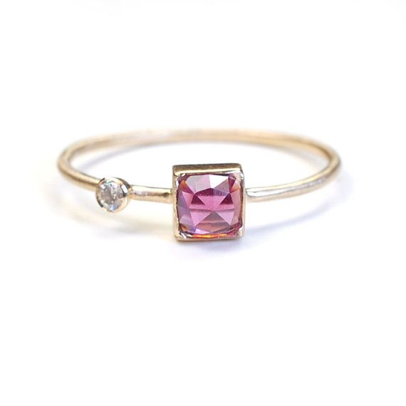 Handmade Rose Cut Ring, Gold Garnet Ring, Asymmetrical Ring, Rhodalite Garnet Ring, Cushion Cut, Nixin $190 via Etsy