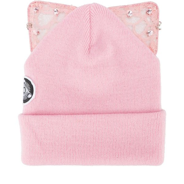Silver Spoon Attire Bad Kitty embellished beanie with cat ears ($111) ❤ liked on Polyvore featuring accessories, hats, pink, beanie hat, silver spoon attire, acrylic hat, embellished hats and beanie caps
