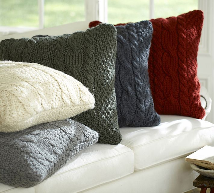 DIY $7 Sweater Pillows - Now that the weather is getting cooler, we've been looking for subtle ways to add cozyness to our home. These Pottery Barn pillows have…